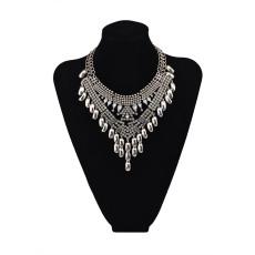 N-5615 New Fashion European Style Silver Plated full rhinestone Crystal Flower Luxury Big Statement Necklace
