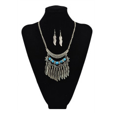 N-5611 Bohemian Vintage Style Silver Plated Carving Flower Turquoise Bead Leaf Tassel Pendant Necklace For Women Earrings & Necklace Jewelery set