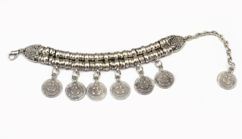 B-0390 Punk Style Thick Bohemian Moon Child Turkish Silver Golden Antalya Bracelet. Moon Lovers,Gypsy Beachy Chic! NEW, Tia, Festival, Coachella, Coin, silver, Turkish