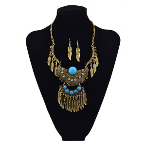 N-5613 Bohemian Vintage Style Silver Plated Carving Flower Crystal Beads Leaf Tassel Pendant Earrings Necklace Set