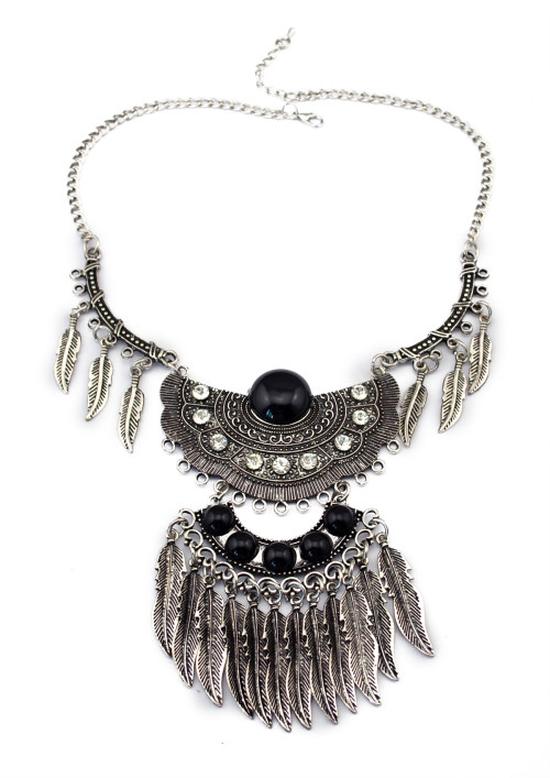 N-5613 Bohemian Vintage Style Silver Plated Carving Flower Crystal Beads Leaf Tassel Pendant Earrings Necklace Set