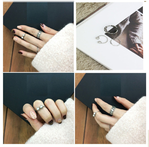 R-1215 Korea Fashion style exaggerated silver plated alloy unique rings 3pcs jewelry Set