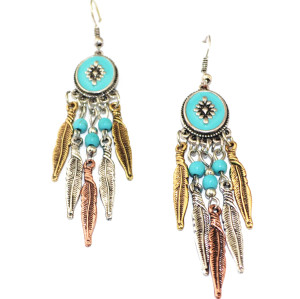 E-3494  Bohemian Vintage Fashion Style Carving Leaf Beads Dangle Earrings