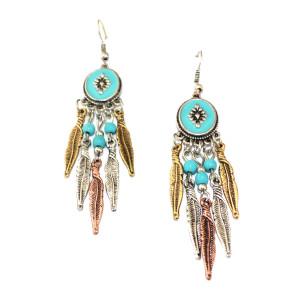 E-3494  Bohemian Vintage Fashion Style Carving Leaf Beads Dangle Earrings