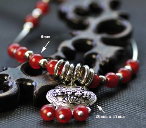 B-0529 Bohemian Silver Bone Chain Beads Ball Bells Chain Anklet Bracelet