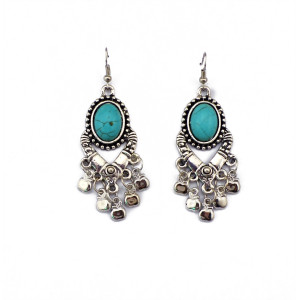 E-3505 Bohemian Vintage Carving Metal Round Turquoise Bead cute small apples Shape tassels Dangle Earrings