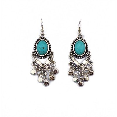 E-3505 Bohemian Vintage Carving Metal Round Turquoise Bead cute small apples Shape tassels Dangle Earrings