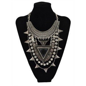 N-5625 Bohemain vintage gold silver jewelry big resin triangle scales crystal tassel collar statement necklaces & pendants for women accessories