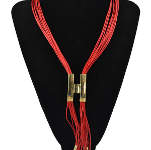 N-5626 2015 New Hot Fashion Style Gold Plated Long Tassel Multiple Leather chain Big H Pendant Necklace