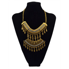 N-5623 New Design Bohemian vintage gold silver Plated sheetmetal Crystal Drops pendant Necklace
