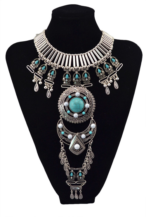 N-5622 European royal style Extremely gorgeous silver Gold Plated turquoise beads amphitheatre double chain Statement Pendant necklace
