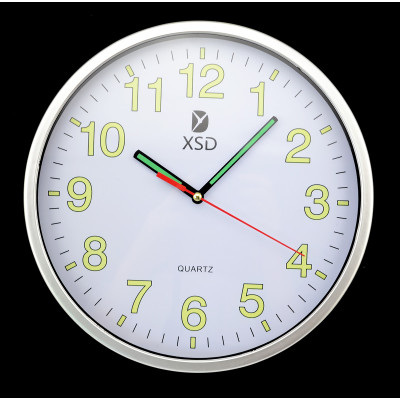 New Fashion Vintage Simple Style LED Light Black and White Cute Home Bedroom  Round Quartz Wall Clock