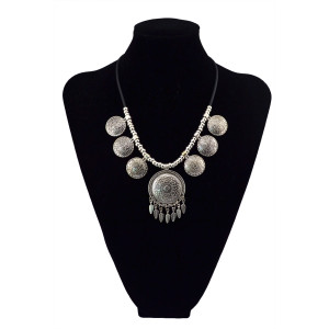 N-5628 New Fashion Bohemian Style Vintage Silver Plated Big Flower Round Pendant Black Leather Chain Statement Necklace For Women