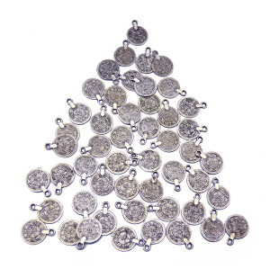 N-5639 Gypsy Bohemian Beachy Chic Carving Flower Coin Charms Statement Necklace Festival Silver Ethnic Turkish India Tribal Accessories Jewelry Wholesale Lots