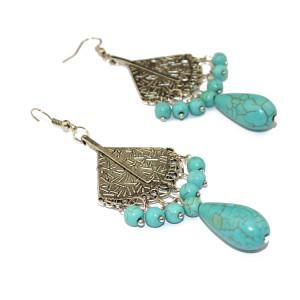 E-3507 Bohemian style tibetan silver fan shape waterdrop bead tassel long dangling earrings