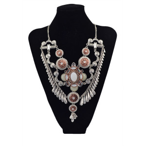 N-5635 Western Vintage gold silver Plated Large Flower Resin Crystal Pendant Choker Chain Tassel Bib Statement Necklace