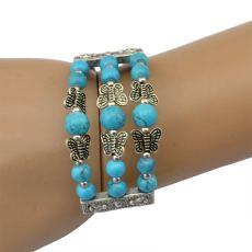B-0531 2015 New European Korean Fashion Silver Plated Colorful Beads Multilayer Adjustable Bracelet