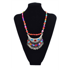 N-5640 Bohemian Vintage Colorful Acrylic Bead Chain Alloy Moon Leaves Tassel Pendant Choker Necklace for Women Costume Jewelry