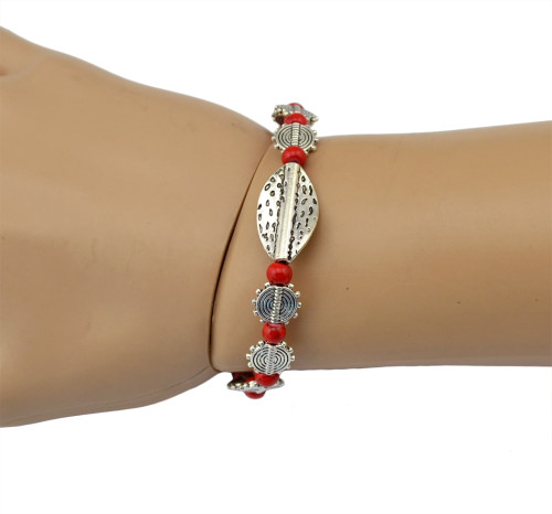 B-0532 2015 New Korean Fashion Simple Style Silver Plated Colorful Beads adjustable Handmade Bracelet