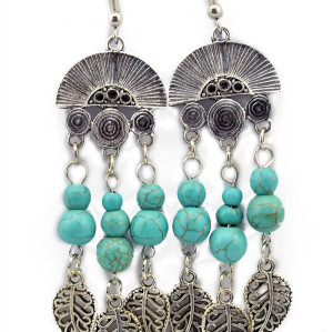 E-3508 Bohemian style silver Classical Chinese folding fan design turquoise beads Hollow out leaves dangle earrings