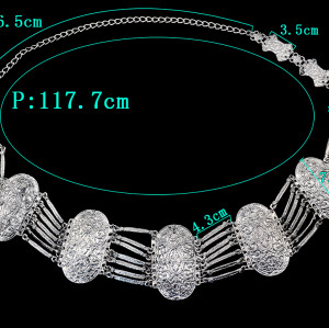 N-5643 Vintage Style Turkish Gypsy Silver Plated Alloy Coin Belly Body Chain Waist Chain