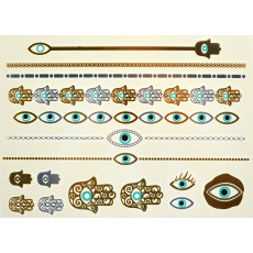 2015 New Design Multicolor Metallic Eyes Necklace Pattern Flower Hand Products Necklace Temporary Jewelry Flash Tattoo