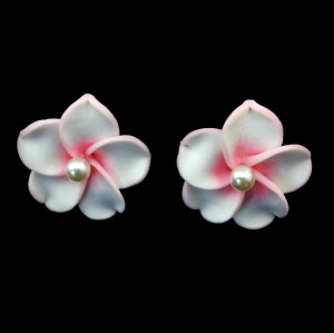 E-3515 Korean New Fashion White Pink Large Flower Stud Earrings for Women