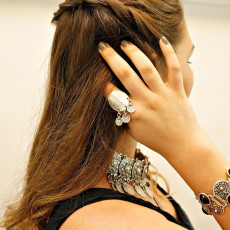 B-0538 Bohemian vintage silver geometry black blue gem stone women bangle bracelet boho jewelry