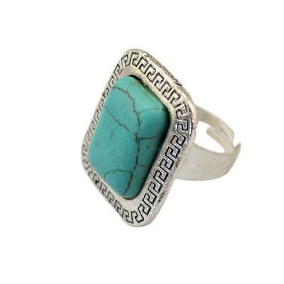 R-1223  New Design Vintage Silver Retro Flower Blue Turquoise Geometry Square Ring  for Women Jewelry