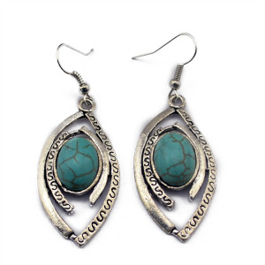 E-3517 Bohemian style silver new design turquoise beads Hollow out leaves eye shape dangle earrings