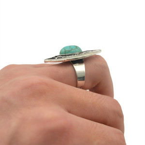 R-1225 Bohemian vintage style silver plated turquoise gem stone eye shape finger ring