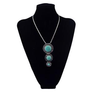 N-5649 Bohemian vintage style tibeitan silver thin chain 3 row round turquoise gem stone long pendant necklace