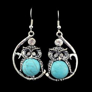 E-3516 vintage silver moon shape turquoise rhinestone cute owl dangling earings