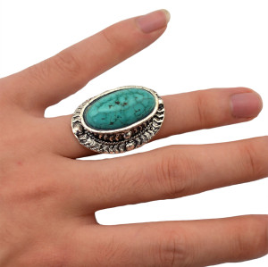 R-1232 New Fashion Vintage Style Turquoise Rings Silver Plated Women Flower Turquoise Rings
