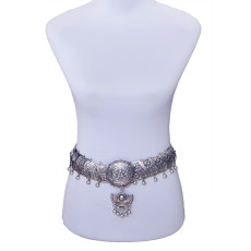 N-5648 Bohemian Style Silver Plated Alloy Retro Wide Boho Coin Tassel Pendant Necklace Long Waist Body Belly Chain Jewelry