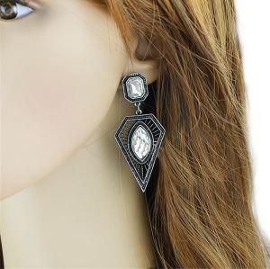 E-3518 2015 European Fashion Popular Silver Plated Crystal Triangle Dangle Earrings
