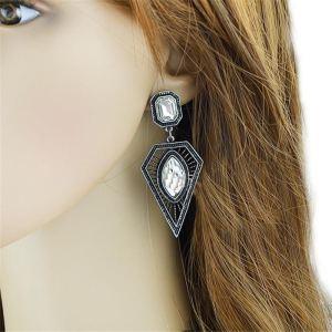 E-3518 2015 European Fashion Popular Silver Plated Crystal Triangle Dangle Earrings