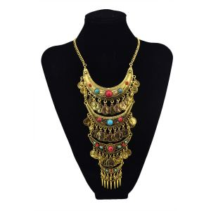 N-5651 2015 Fashion Popular Bohemia Gypsy Multilayer Coin Tassel Turquoise Pendant Necklace