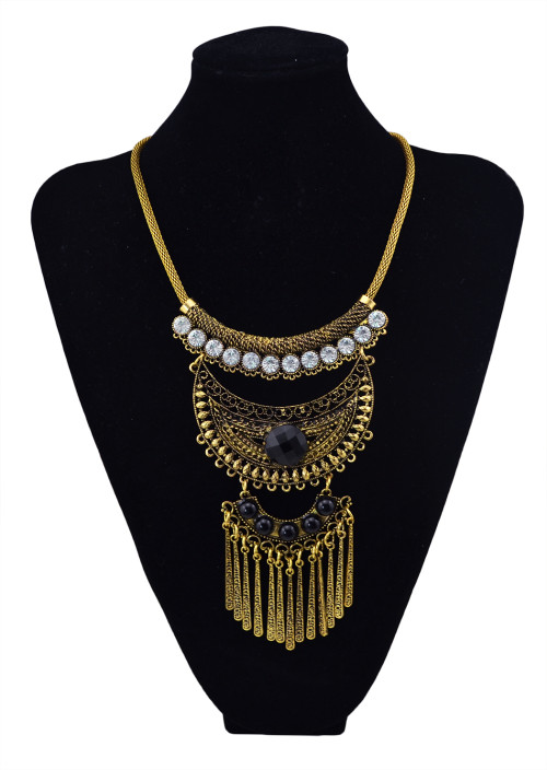 N-5658 Bohemian Vintage Silver Gold Snake Chain Crystal Resin Beads Moon Shape Long Tassels Necklaces & Pendants for Women