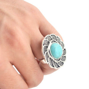 R-1234 New Design Bohemian Style Vintage Silver Retro Big Flower Blue Turquoise Ring for Women Jewelry