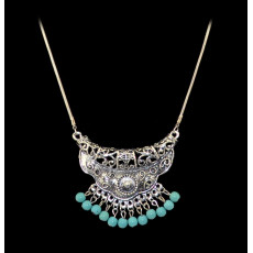 N-5646 Bohemian Vintage Carving Tassel Red Blue Bead Pendant Necklace for Women Costume Jewelry
