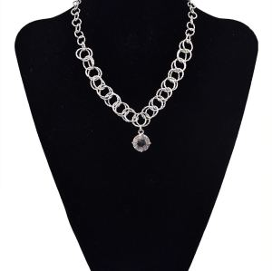 N-5664 European Korea Fashion Style Silver Plated Big Crystal Pendant Necklace