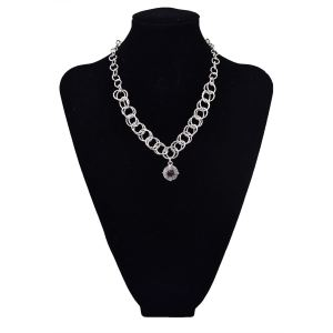 N-5664 European Korea Fashion Style Silver Plated Big Crystal Pendant Necklace