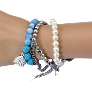 B-0550 New Fashion 3types silver plated alloy resin crystal Tassel dangle Bracelet set