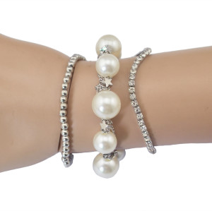 B-0551 New Fashion 3 Pcs Silver Plated Alloy Pearls Dangle Bracelet Set