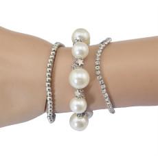 B-0551 New Fashion 3 Pcs Silver Plated Alloy Pearls Dangle Bracelet Set