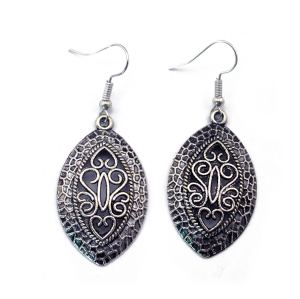 E-3524 Bohemian Fashion Popular Vintage Silver Hollow Carving Flower Earrings