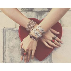 B-0541 Bohemian Chic Vintage Silver Plated Coin Tassel carving snowflake Chain Bracelet