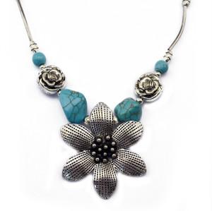 N-5673 Bohemian style silver bone chain metallic rose flower turquoise bead stone choker bib necklace