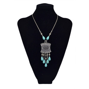 N-5672 Bohemian Vintage Silver Plated Snake Chain Blue Water Drop Long Tassel Pendant Necklace for Women Costume Jewelry